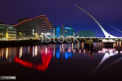 Samuel Beckett bridge at night, Dublin city centre.