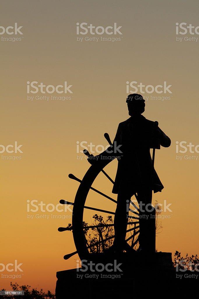 Samuel Clemens (Mark Twain) at the Wheel stock photo