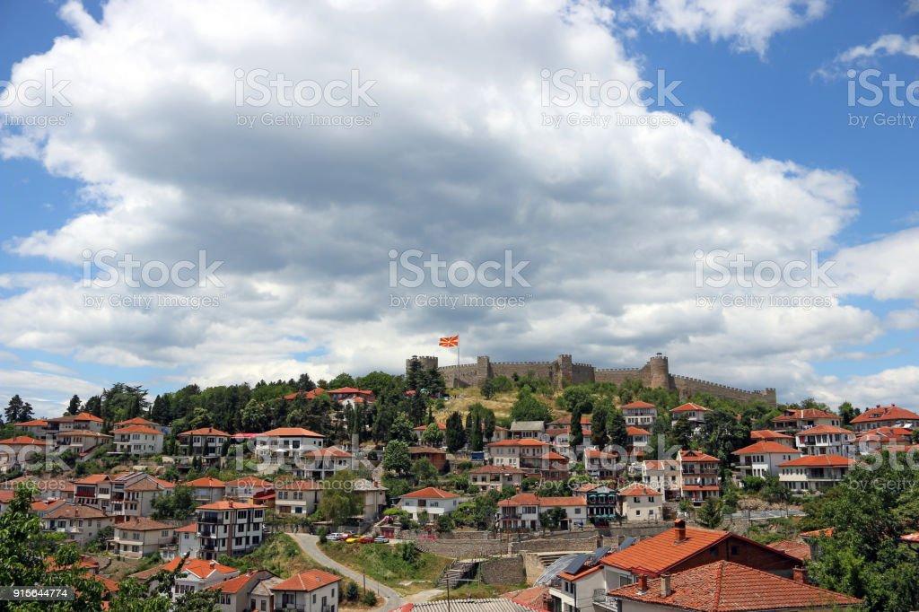Samuel fortress in Ohrid cityscape Macedonia stock photo