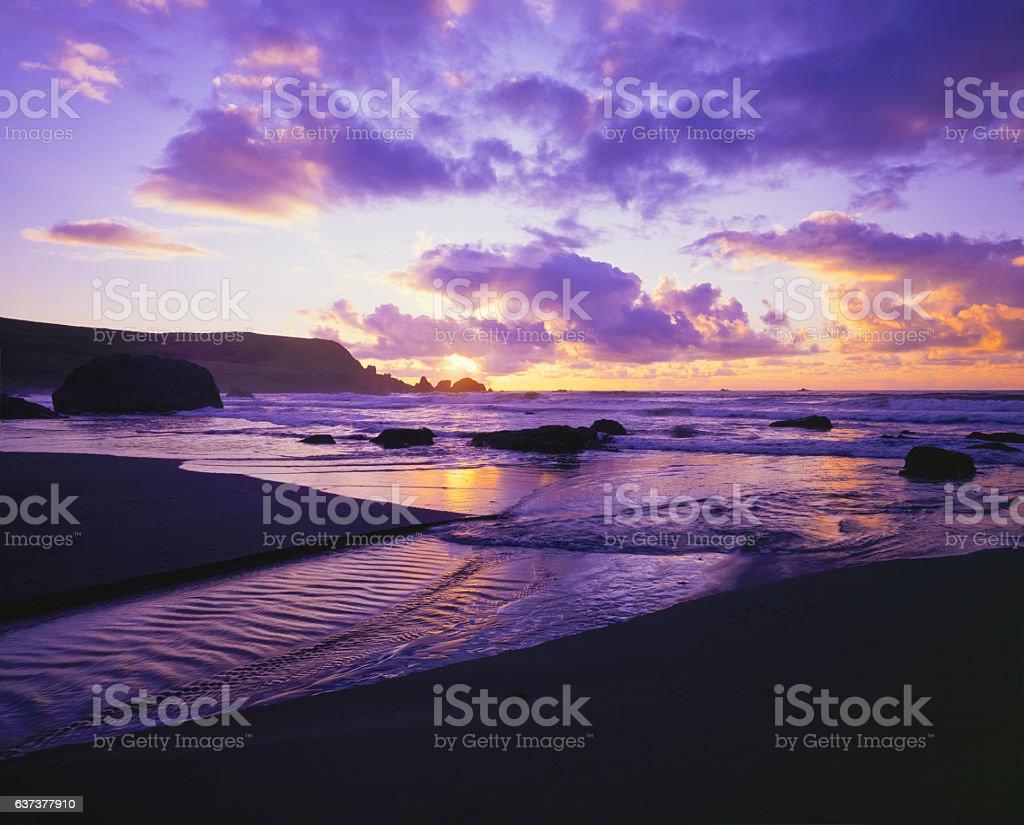 Samuel H. Boardman State Park sunset beach and surf,Oregon stock photo