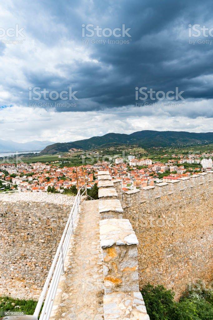 Samuel's Fortress, Ohrid, Macedonia, vertical stock photo