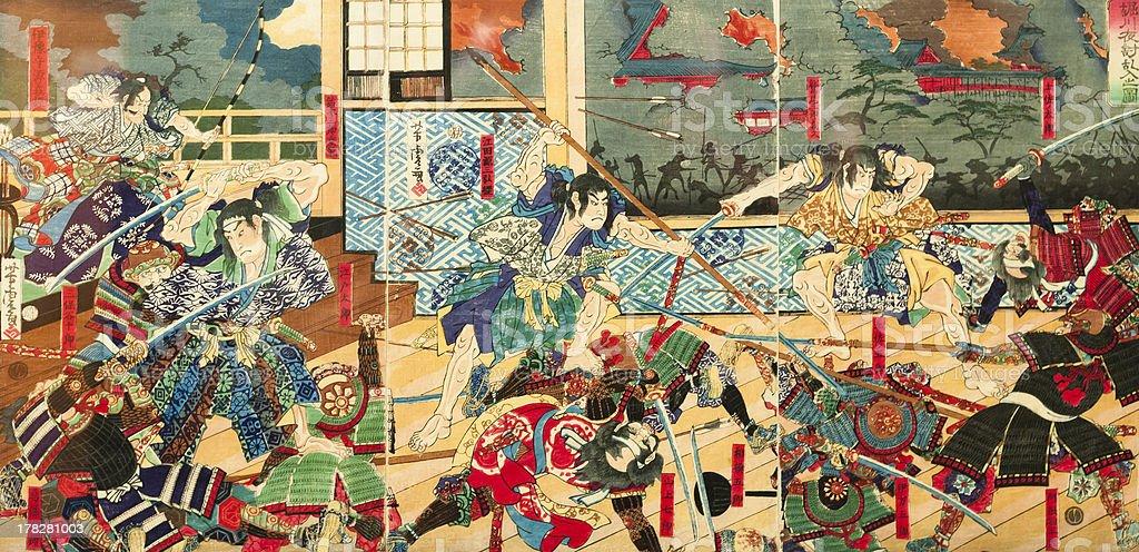 Samurai Schlacht auf alten vintage japanische traditionelle Gemälde – Foto