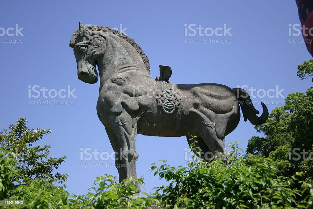 Samurai Horse Statue stock photo