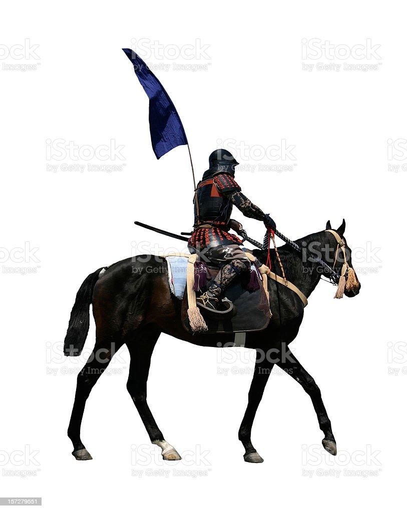 Samurai riding a horse stock photo