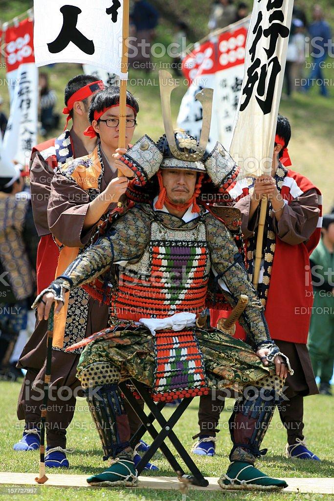 Samurai sitting before the battle stock photo