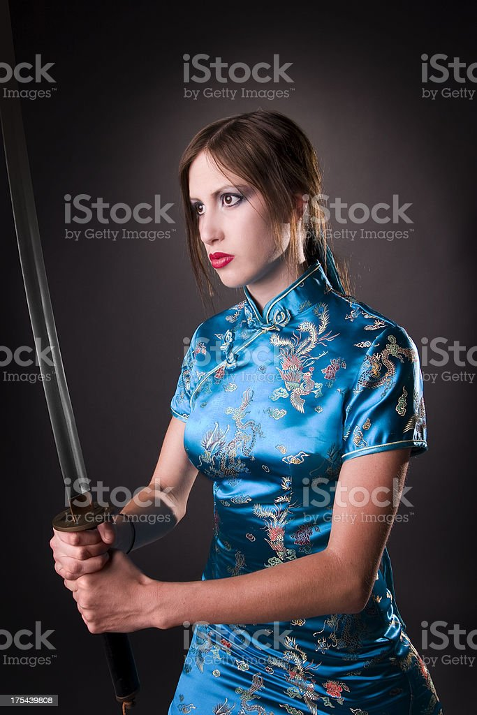Samurai Woman with Sword stock photo
