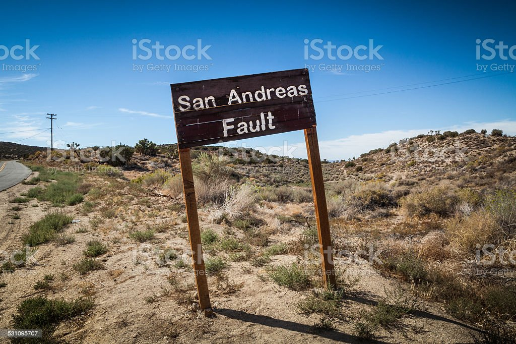 San Andreas Fault Sign, Pallet Creek Road, Pearblossom California stock photo
