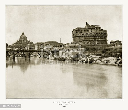 Antique Italian Photograph: San Angelo and Tiber, Rome, Italy, 1893. Source: Original edition from my own archives. Copyright has expired on this artwork. Digitally restored.