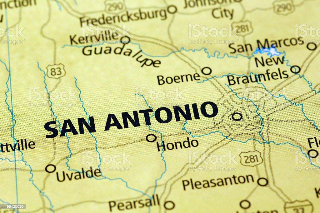 San Antonio Area On A Map Stock Photo IStock - San antonio texas on us map