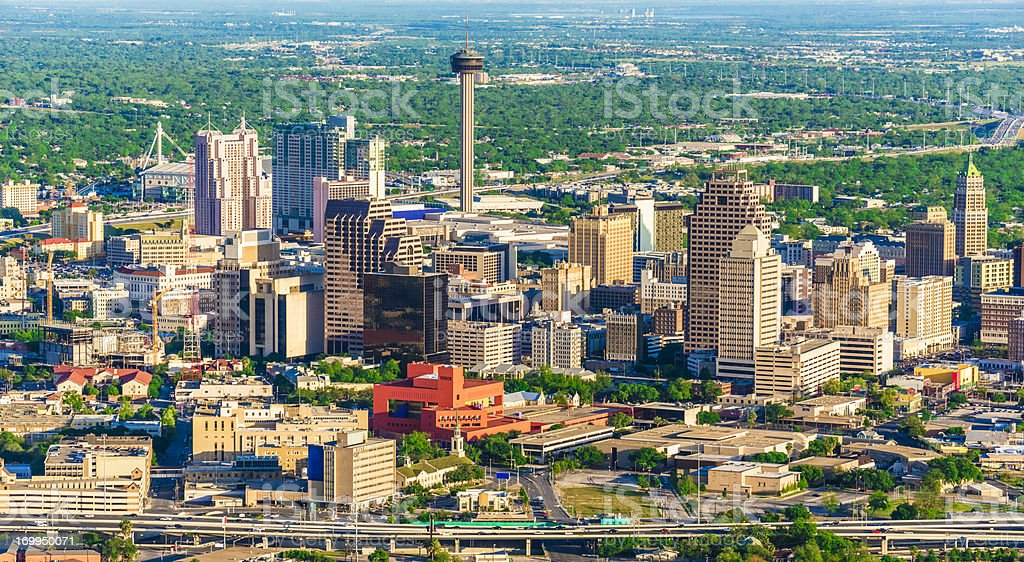 San Antonio cityscape skyline aerial view from helicopter stock photo