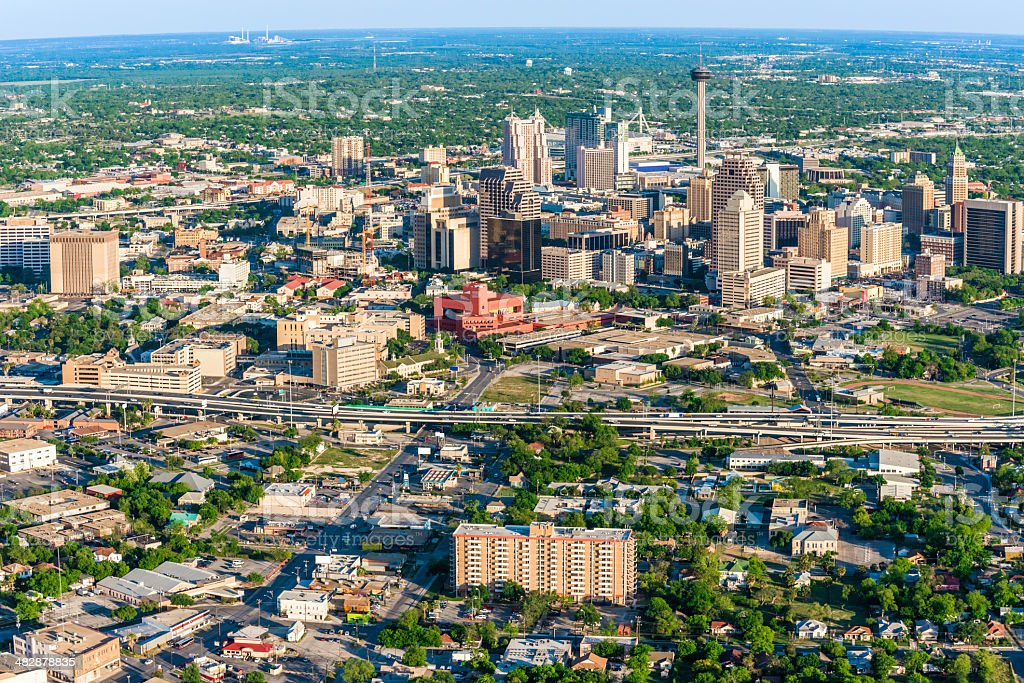 San Antonio cityscape skyline aerial view stock photo