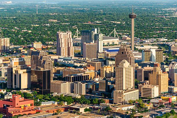 San Antonio cityscape skyline aerial view San Antonio cityscape skyline aerial view san antonio texas stock pictures, royalty-free photos & images