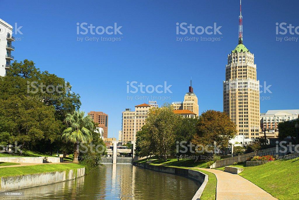 San Antonio Downtown Skyline and Riverwalk royalty-free stock photo