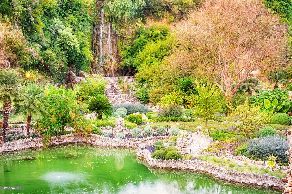 Marvelous San Antonio Japanese Tea Garden And Waterfall Royalty Free Stock Photo