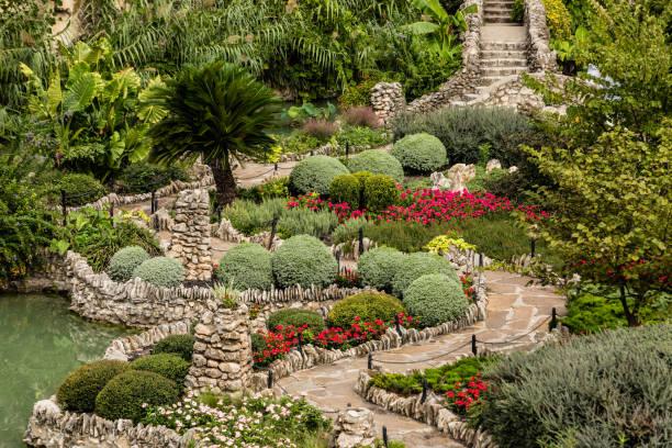San Antonio Japanese Tea Garden Stonework, walkways, and staircase at the Japanese Tea Garden san antonio texas stock pictures, royalty-free photos & images