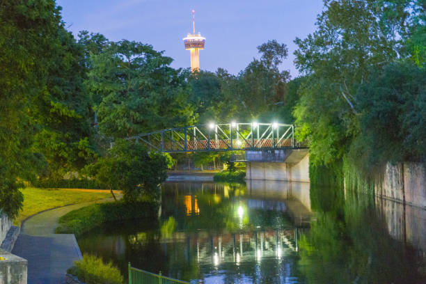 San Antonio River at Dusk with Tower in Background stock photo