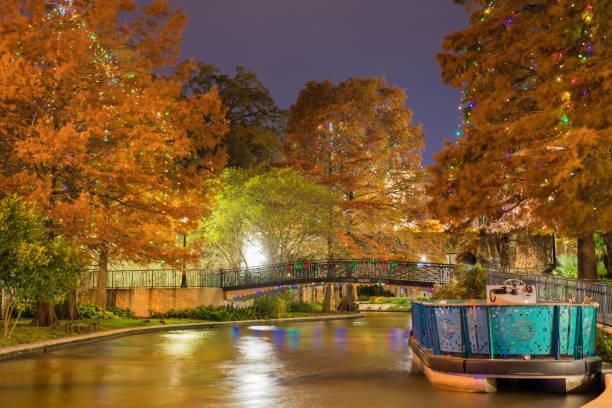 San Antonio River Walk at Night with Christmas Lights Long Exposure stock photo