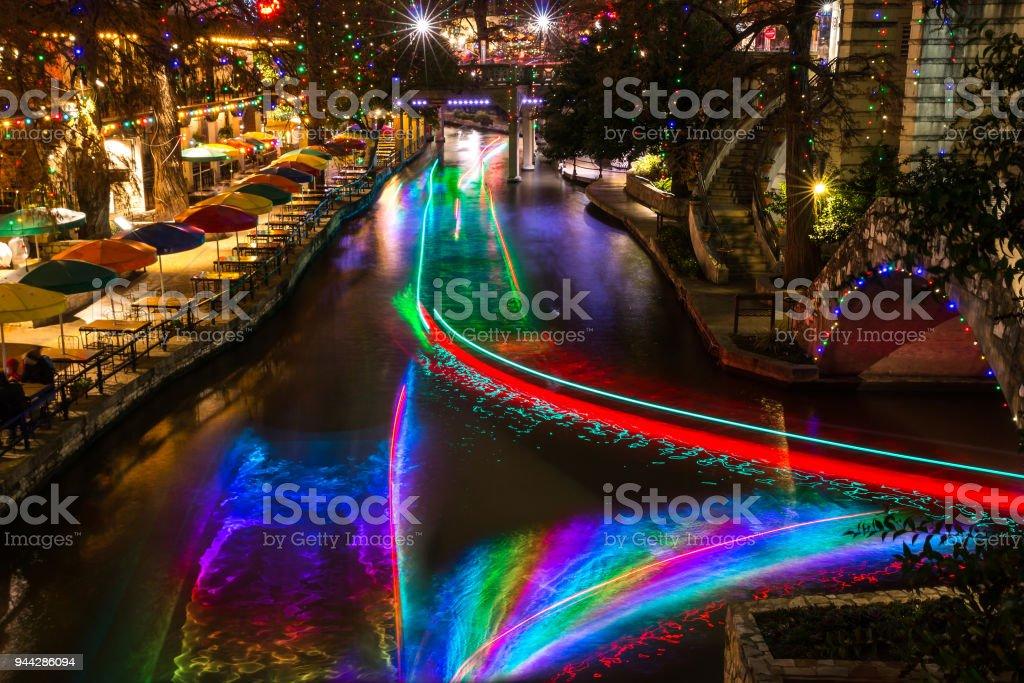 San Antonio Riverwalk During Christmas.San Antonio Riverwalk At Night Christmas Time With Some