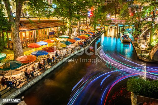 San Antonio Riverwalk - San Antonio Texas,  Famous tourism park walkway along scenic river canal at night. Light trails from tour boats.