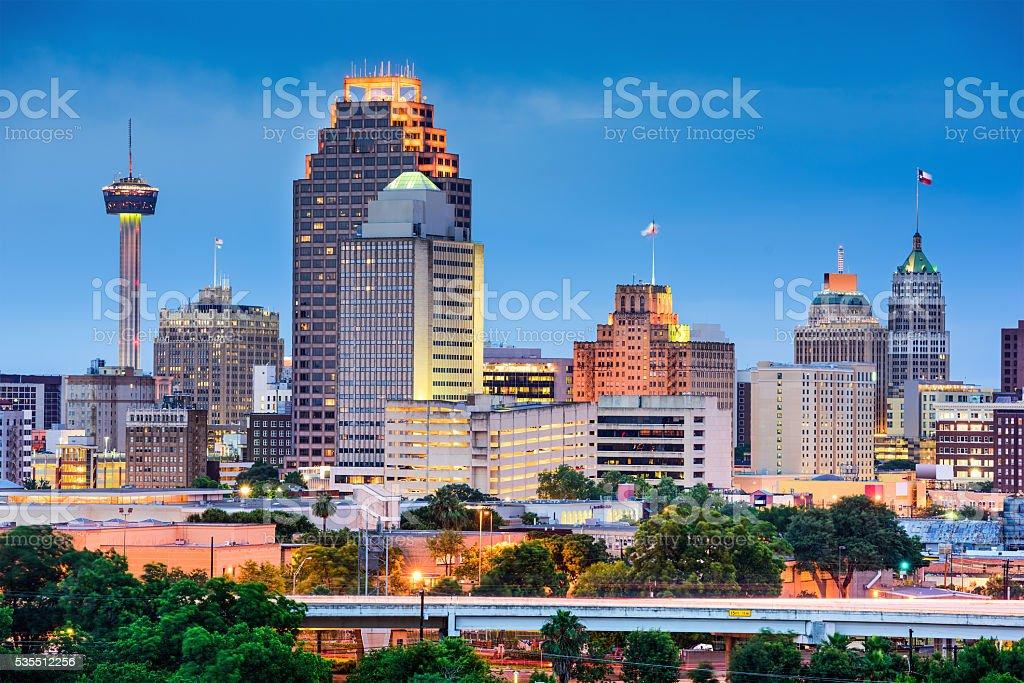 San Antonio Skyline San Antonio, Texas, USA skyline. Arranging Stock Photo