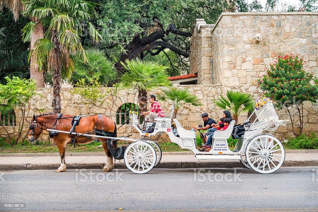 San Antonio Texas Alamo Plaza Horse Carriage Tour stock photo