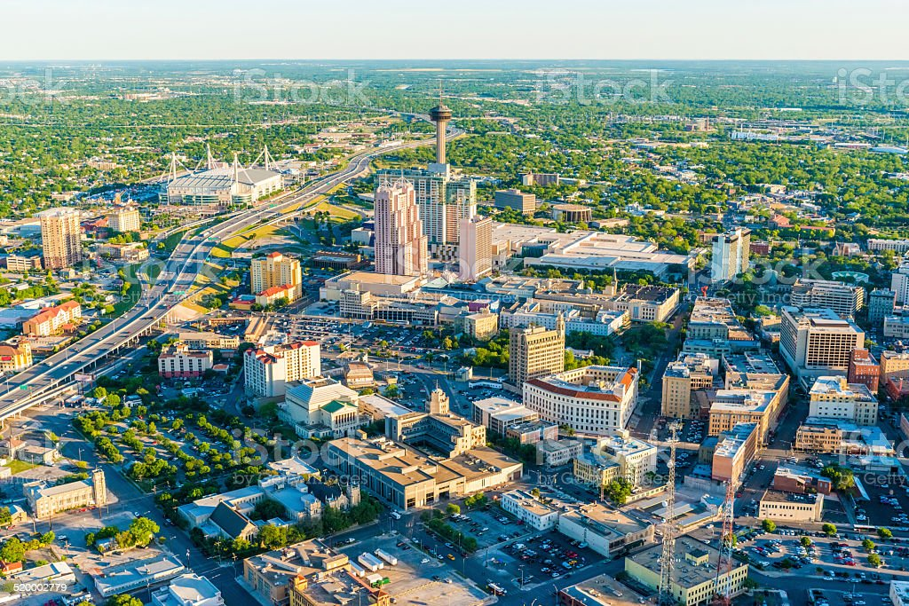San Antonio Texas skyline cityscape aerial panorama stock photo
