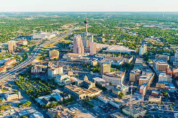 San Antonio Texas skyline cityscape aerial panorama San Antonio Texas skyline cityscape aerial panorama san antonio texas stock pictures, royalty-free photos & images