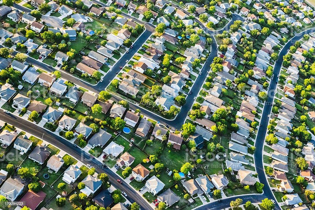 San AntonioTexas  suburban housing development neighborhood - aerial view stock photo