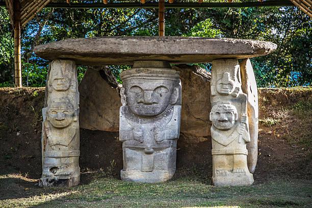 san augustin idols, colombia, south america, inka civilization i stock photo