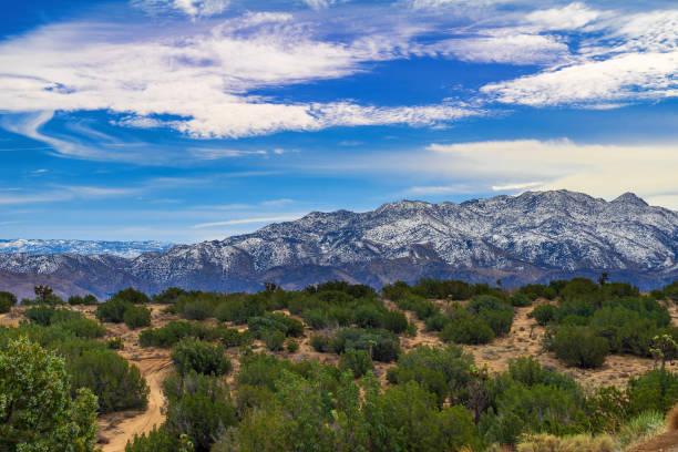 San Bernardino Mountains from the Mojave Desert stock photo