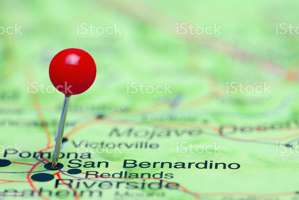 San Bernardino pinned on a map of USA stock photo