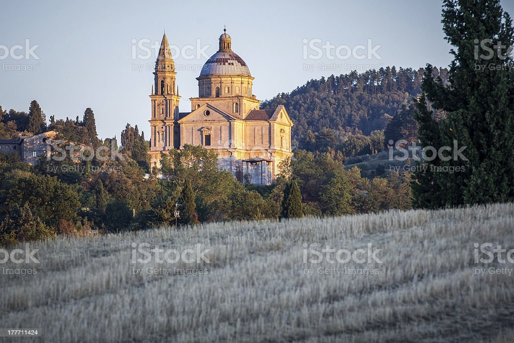 San Biagio church at sunset outside Montepulciano stock photo