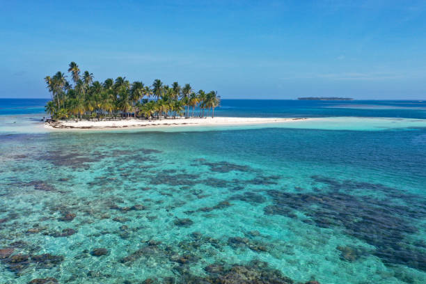 San Blas Riffe kleine Insel mit Kokospalmen – Foto