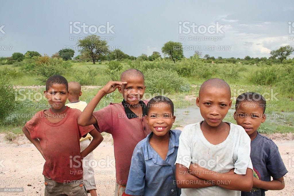 San, Bushmen Boys close Tsumkwe, Namibia, Africa, Rainy Season stock photo