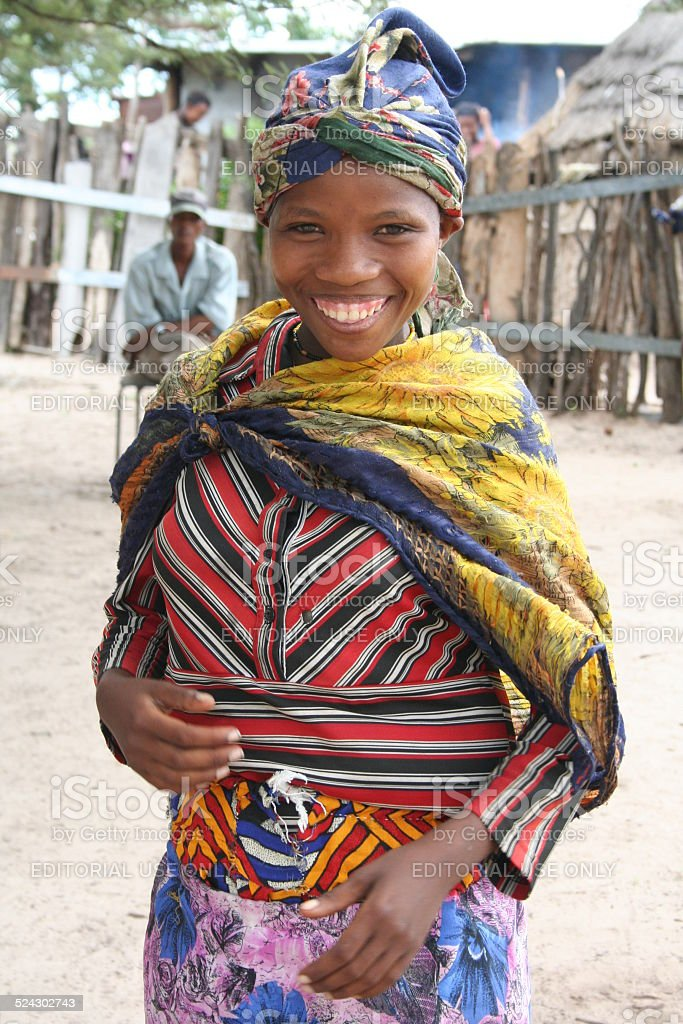 San, Bushmen Girl close Tsumkwe, Namibia, Africa, Rainy Season stock photo