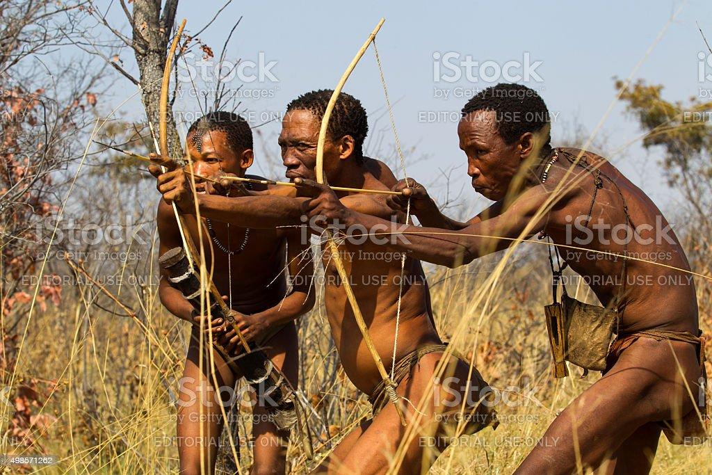 San bushmen hunters in the african bush, Namibia stock photo