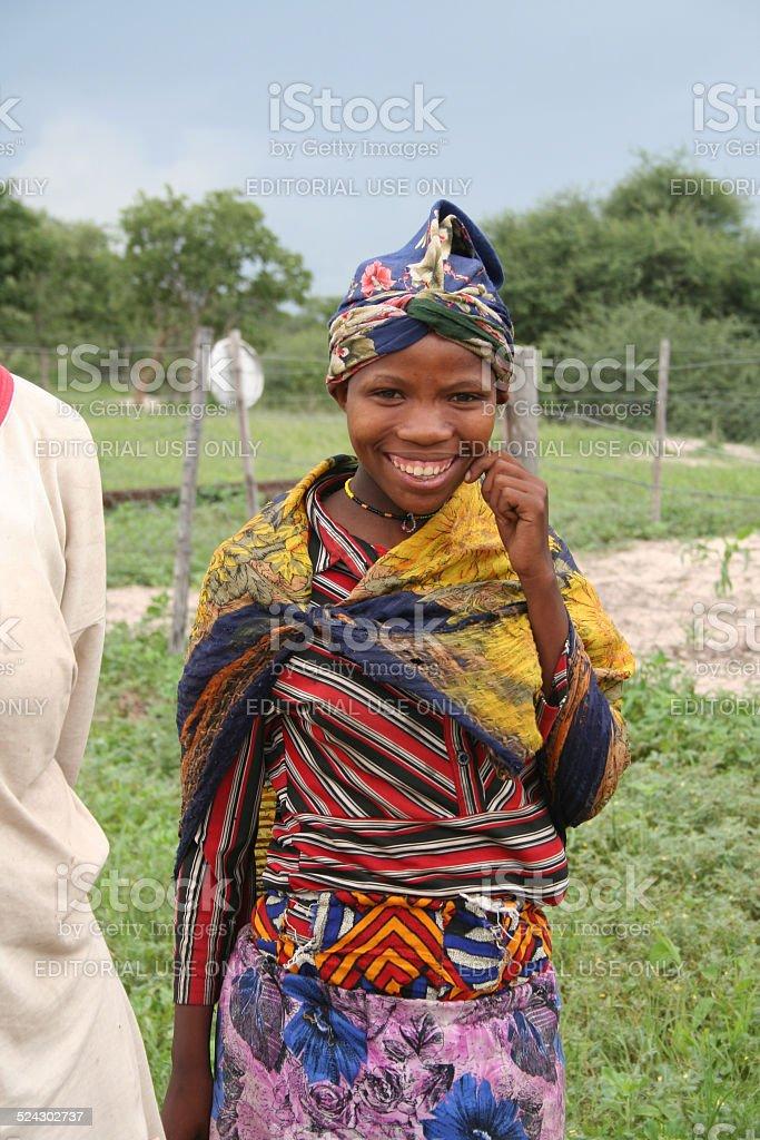 San, Bushmen Woman close Tsumkwe, Namibia, Africa, Rainy Season stock photo