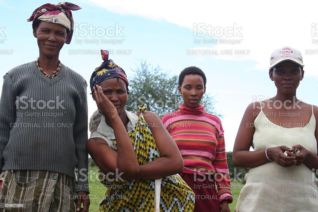 San, Bushmen Women close Tsumkwe, Namibia, Africa, Rainy Season stock photo