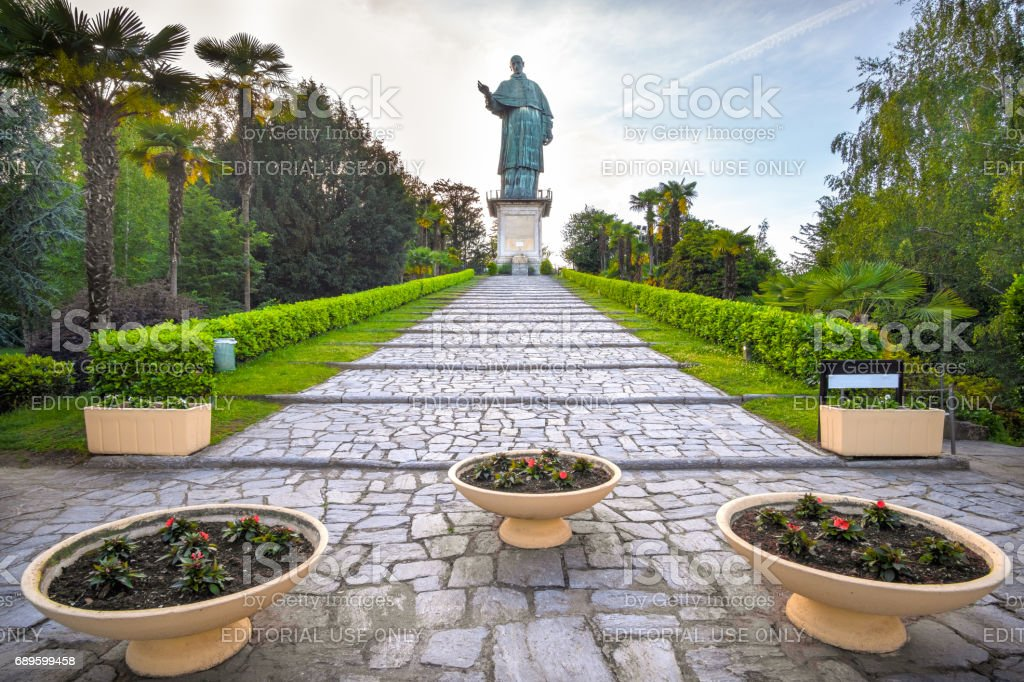San Carlo Borromeo colossus Arona city  Lake Maggiore Piedmont Italy stock photo