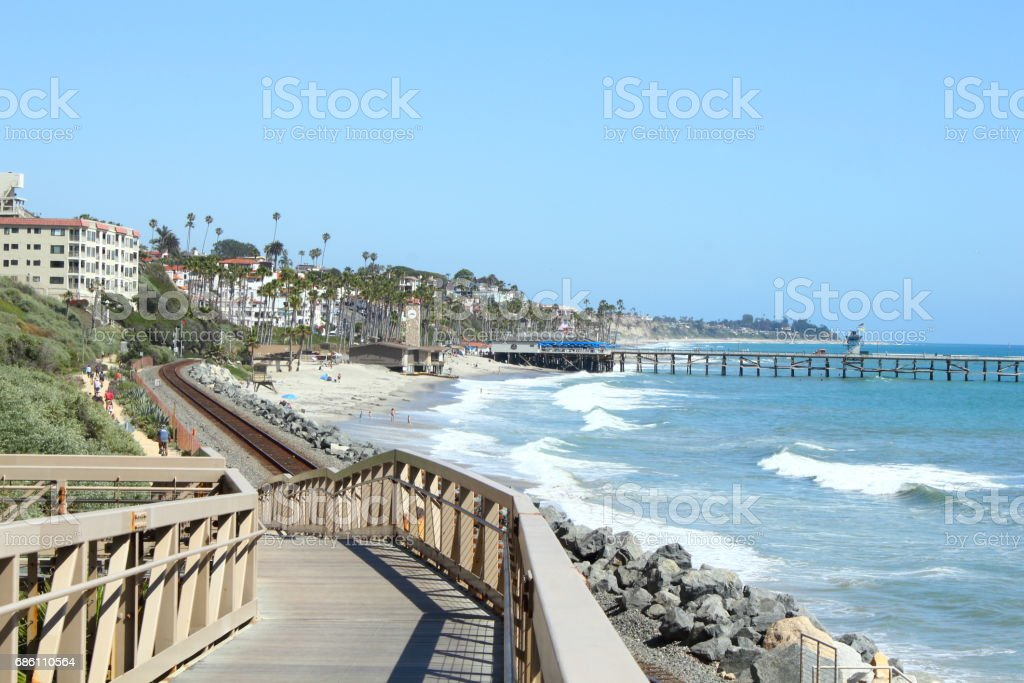 San Clemente Beach Trail Footbridge stock photo