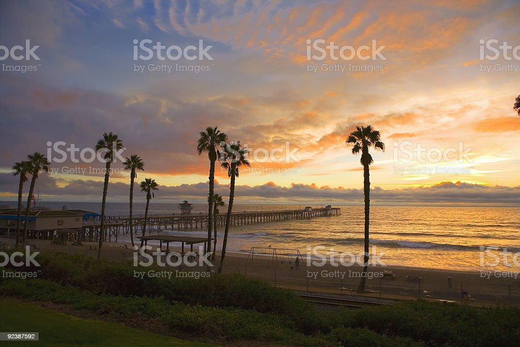 San Clemente Pier at Sunset after a storm. stock photo
