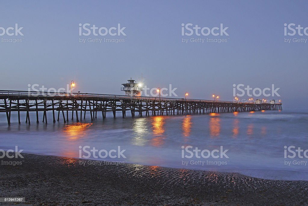 San Clemente Pier Reflections at Sunrise stock photo