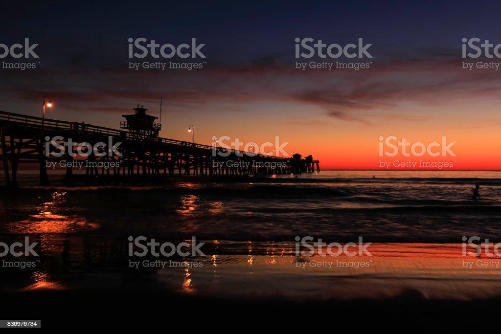San Clemente Pier Silhouette 4 stock photo
