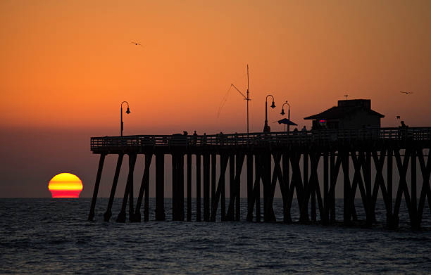 San Clemente Pier Sunball stock photo