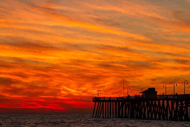 San Clemente Pier Sunset - Fire stock photo