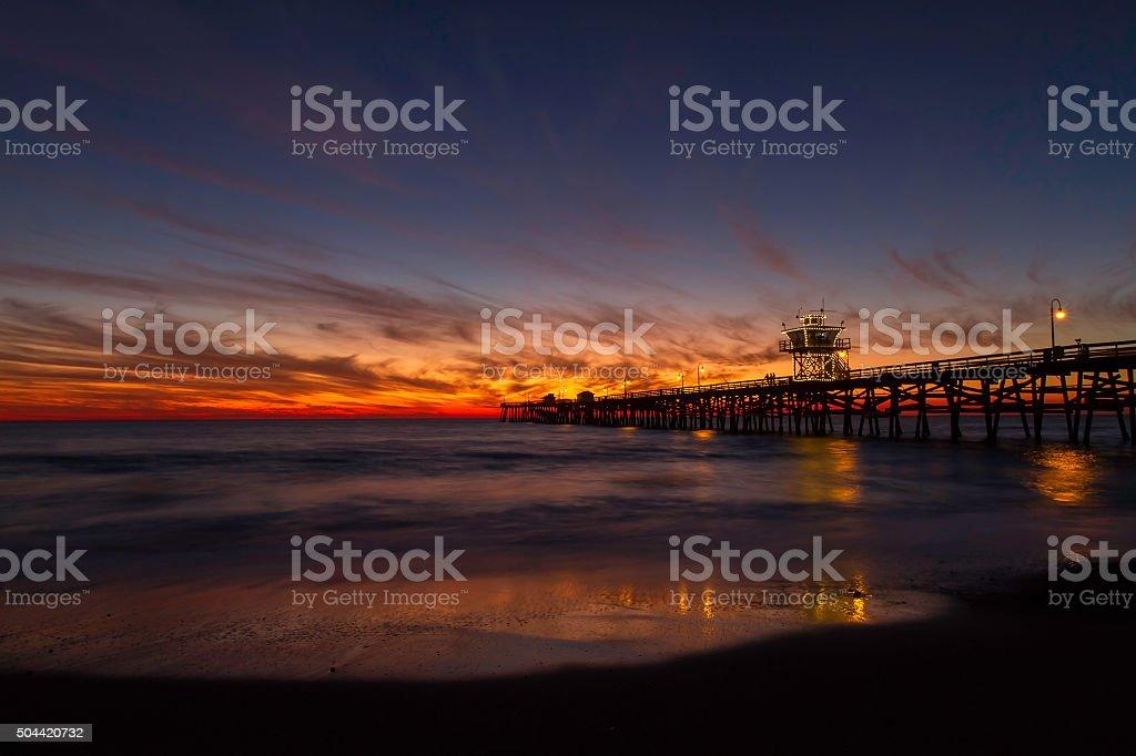 San Clemente Pier Sunset stock photo