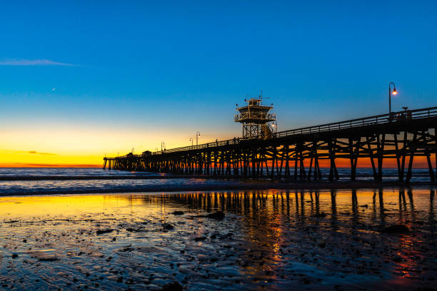 San Clemente Pier Sunset with Christmas Lights stock photo