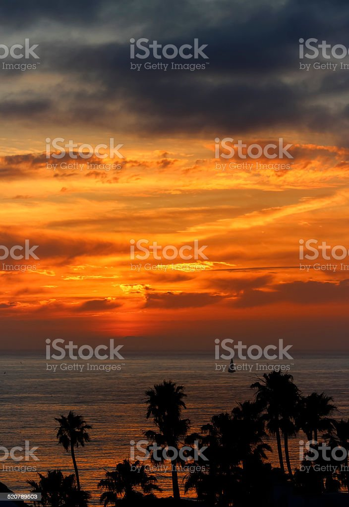 San Clemente Sunset with Sailboat stock photo