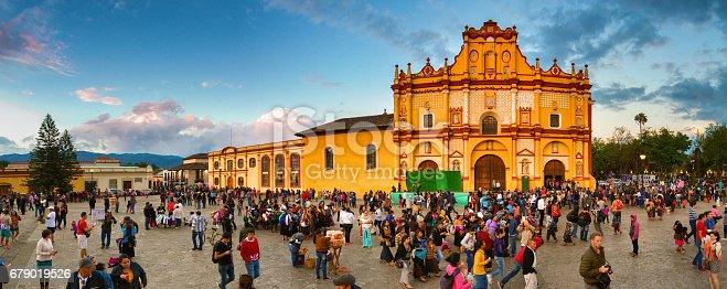 Street scene of San Cristóbal de las Casas in Chiapas, Mexico.
