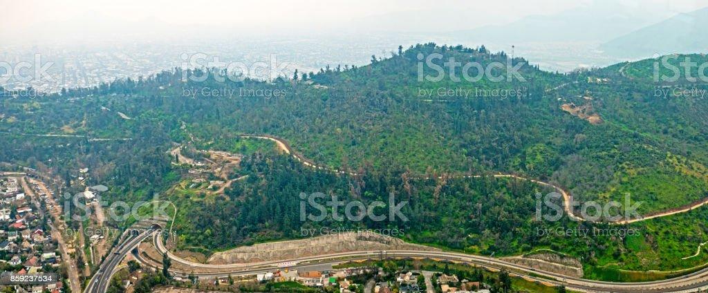 San Cristobal Hill Santiago Chile Panoramic View Tunnel stock photo